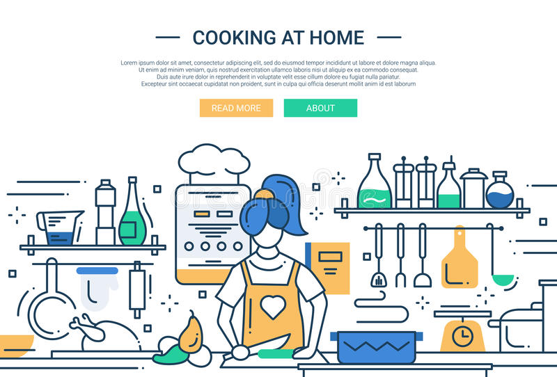 Girl cooking at home - line design website banner royalty free illustration