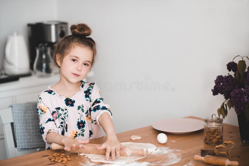 Girl cooking at kitchen royalty free stock photo