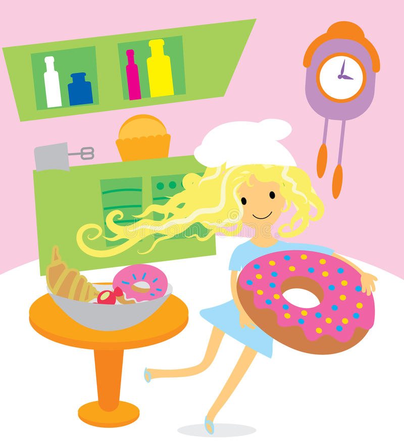 Girl cooking sweets and desserts for the holiday on kitchen. Vector illustration vector illustration