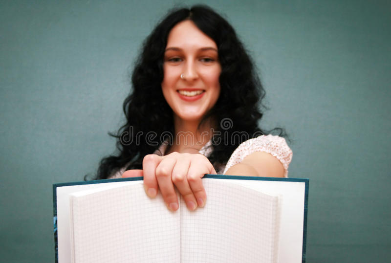 Download Girl with copy-book stock photo. Image of finger, copyspace - 11029566