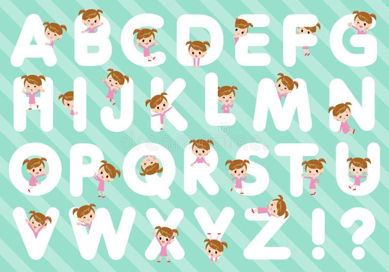 Girl_A cor-de-rosa da roupa a Z ilustração do vetor
