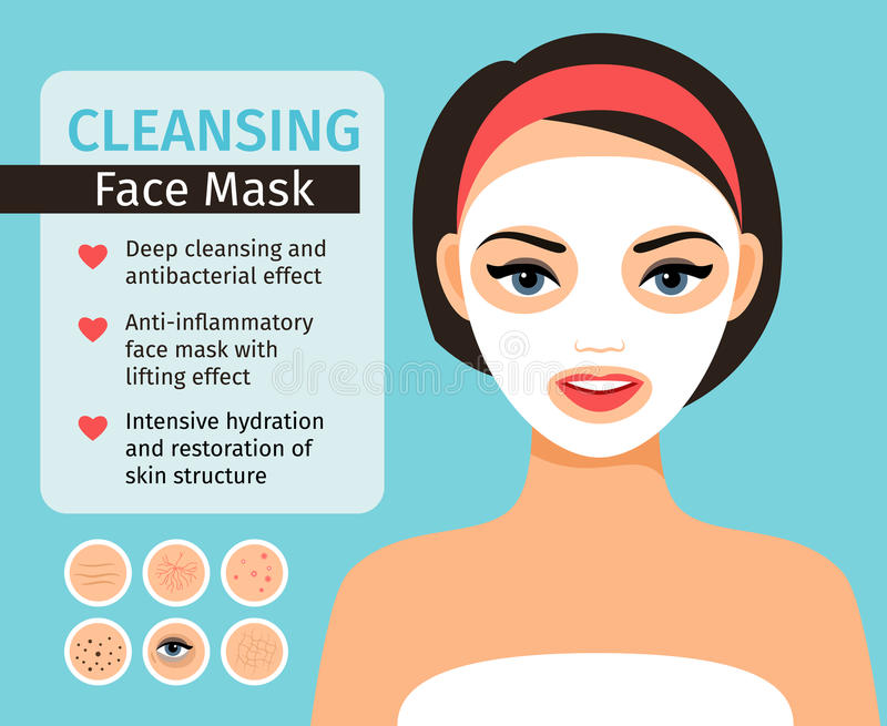 Girl with cosmetic face mask. Girl with cosmetic mask on her face vector illustration. Woman remedial face skin problems and facial care and clean with home royalty free illustration