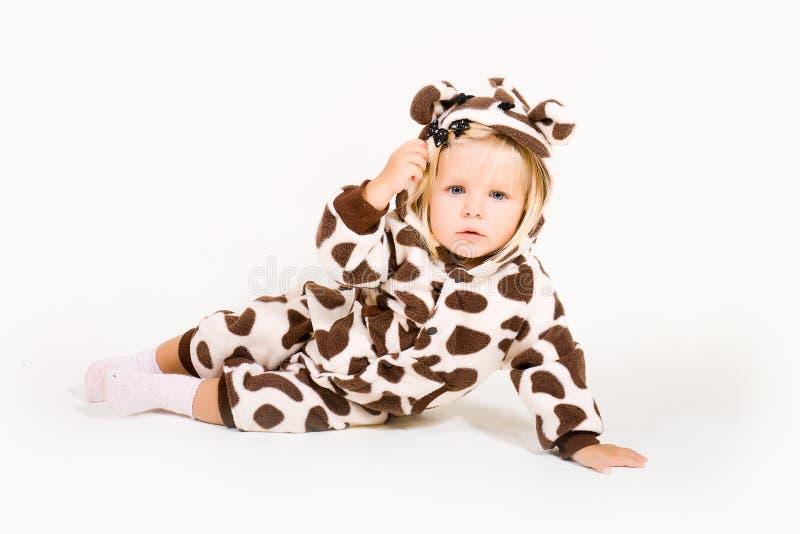 Girl in costume of giraffe stock photography