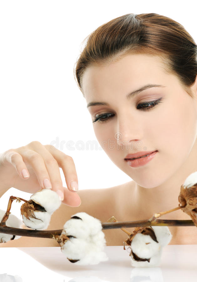 Girl With Cotton Stock Photography