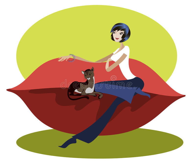 Download The Girl On The Couch With A Cat Royalty Free Stock Images - Image: 26089249