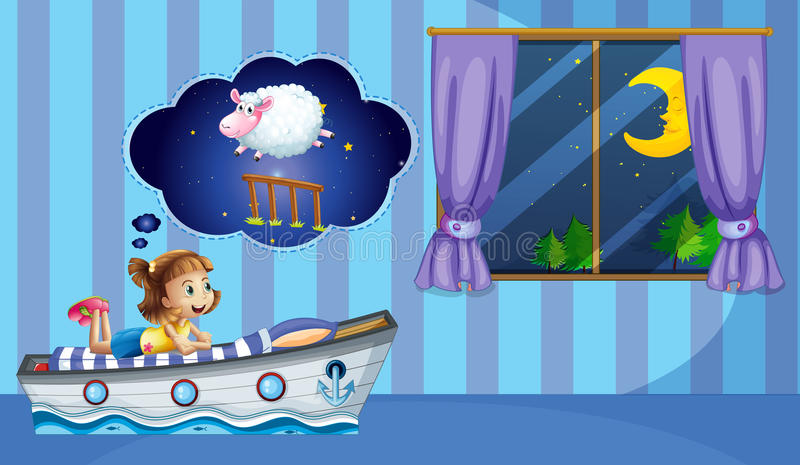 Girl counting sheep at bedtime stock illustration
