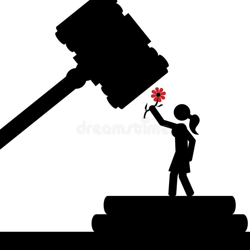 Girl in court. Vector/illustration. A girl is under the court hammer royalty free illustration