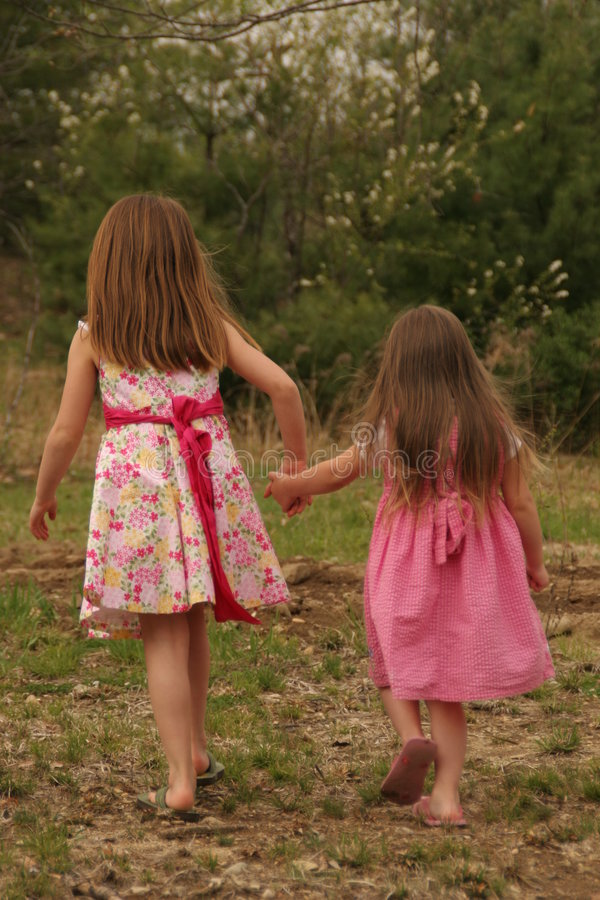 Girl cousins royalty free stock photos