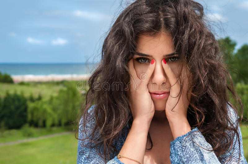 Beautiful Girl Covering Face Royalty Free Stock Image