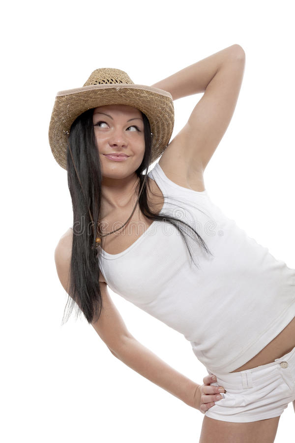 The girl-cowboy royalty free stock photography