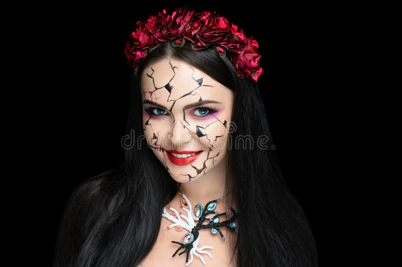 Girl with cracks in her face royalty free stock photos