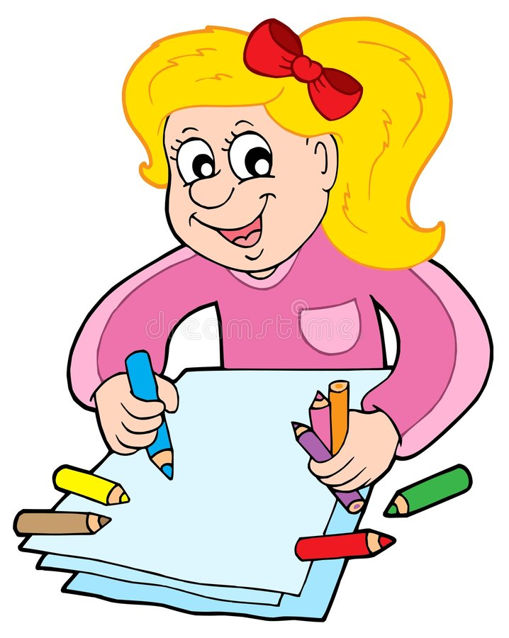 Girl with crayons stock illustration