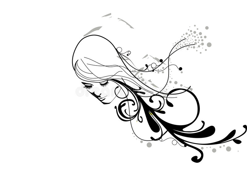 Girl with crazy hair royalty free stock photos