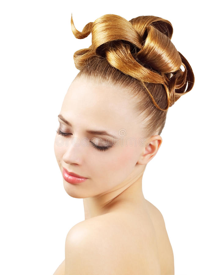 Girl with creative hairstyle. Isolated on white background royalty free stock photo