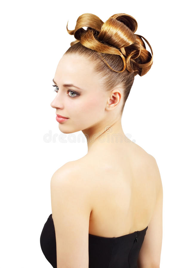 Girl with creative hairstyle pretty blonde model. Girl with creative hairstyle isolated on white background royalty free stock image