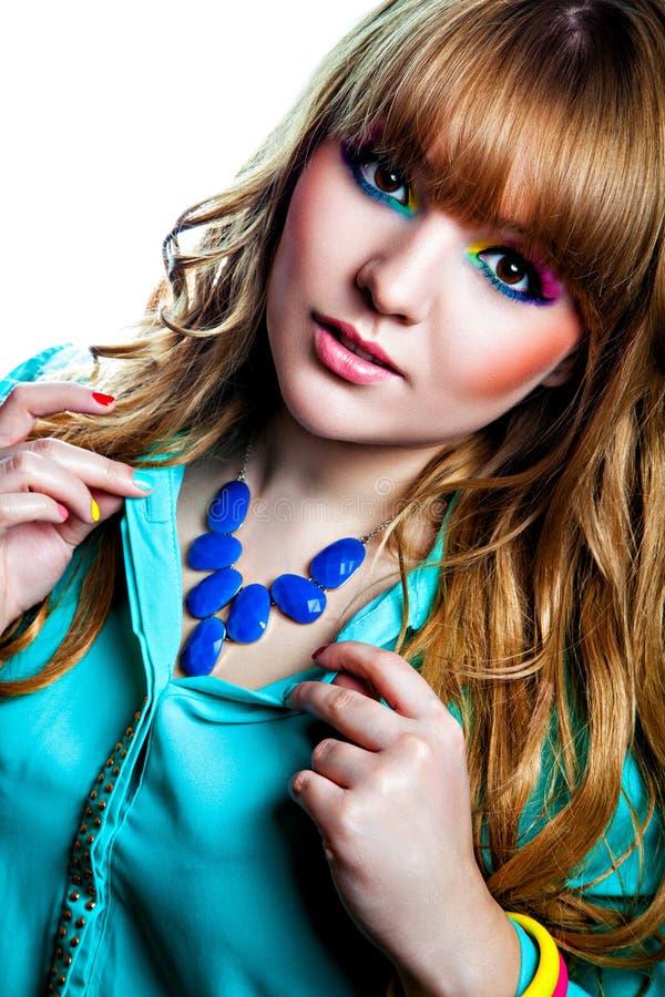 Girl with creative rainbow make-up royalty free stock photos