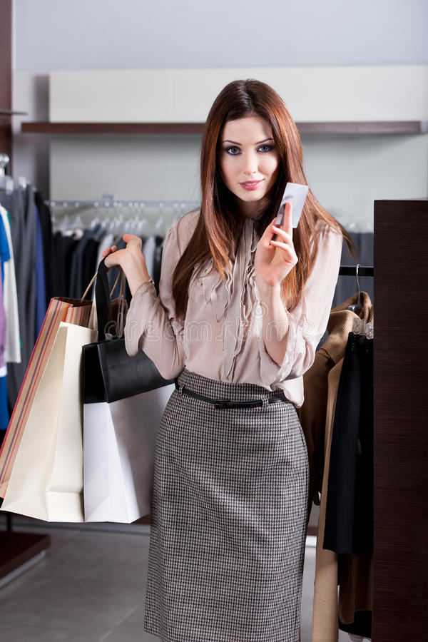 Download Girl with credit card stock photo. Image of coat, client - 26188366
