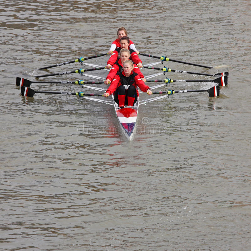 Girl Crew. BRISTOL, ENGLAND - FEBRUARY 20: A crew pulling in unison during the annual Head of the River race in Bristol, England on February 20, 2011. Some 150 stock photos