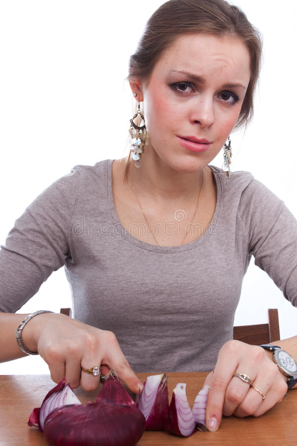 Download Girl Cries Because Of Onion Stock Image - Image: 22155287