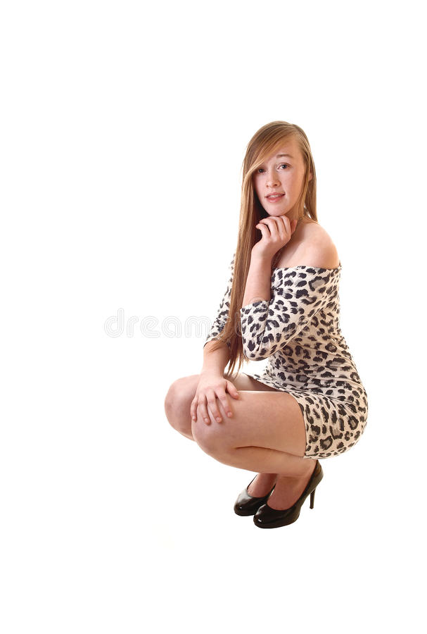 Download Girl Crouching On Floor. Royalty Free Stock Photography - Image: 22709477