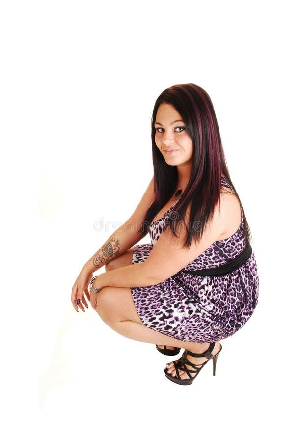 Download Girl crouching on floor. stock photo. Image of high, happy - 27228024