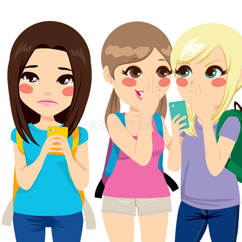 Girl Crying Reading Harassment Messages. Teenager girl crying while reading harassment message on her smartphone with her classmates making cyber bullying vector illustration