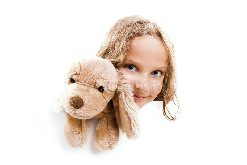 Girl with Cuddly Dog Banner royalty free stock photo