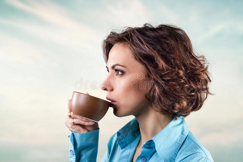 Download Girl with cup stock photo. Image of espresso, face, people - 28467706