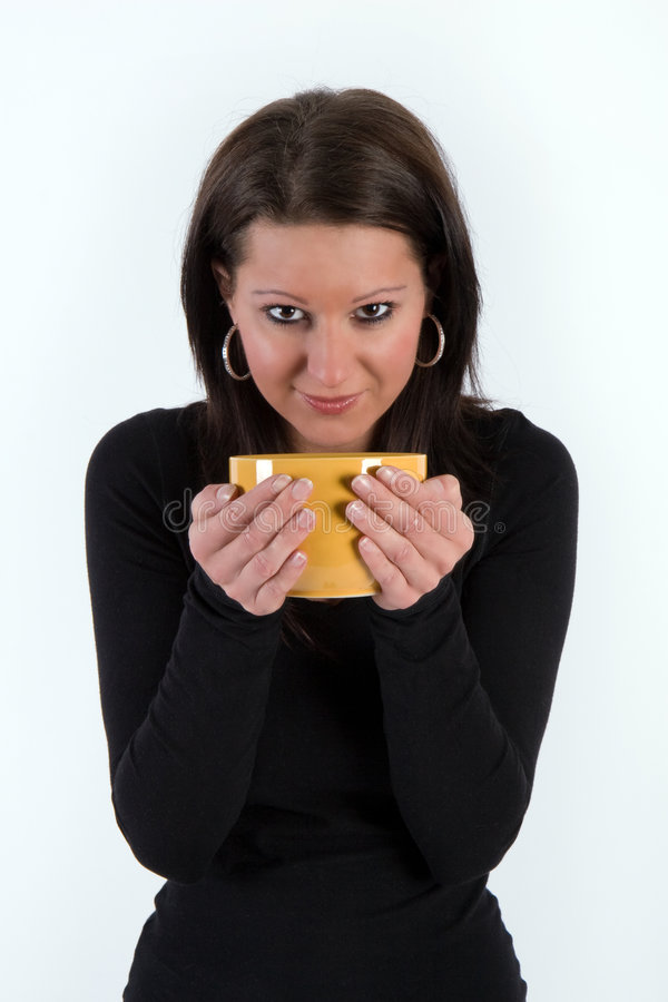 Download Girl with cup stock photo. Image of black, drink, yellow - 8691080