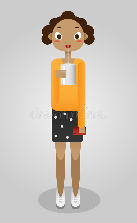 Girl cup illustration stock images