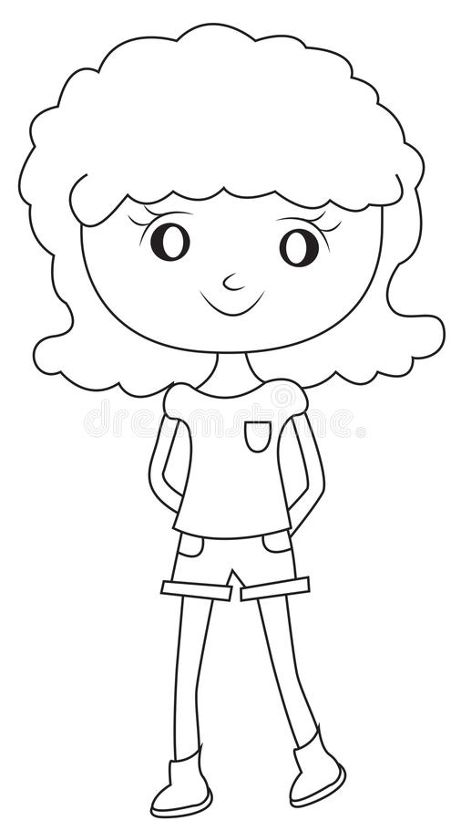 girl with a curly hair coloring page stock illustration