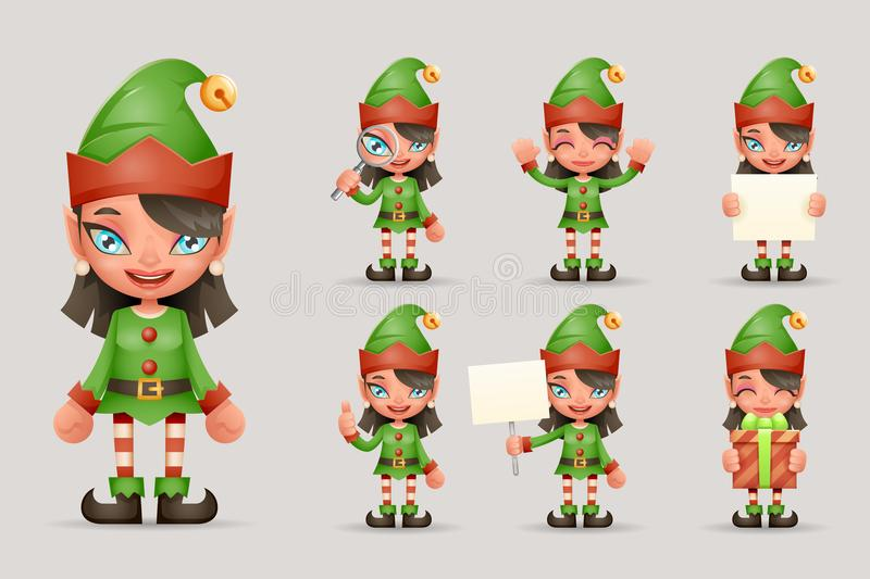 Girl Cute Elf Christmas Santa Teen Icons New Year Holiday 3d Cartoon Characters Realistic Icons Set Design Vector royalty free illustration