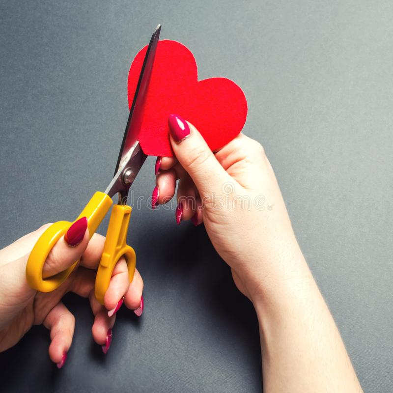 Girl cuts the red heart with scissors. The concept of breaking relations, quarrels and divorce. Betrayal of the othere. Loss of. Feelings for your loved one stock images