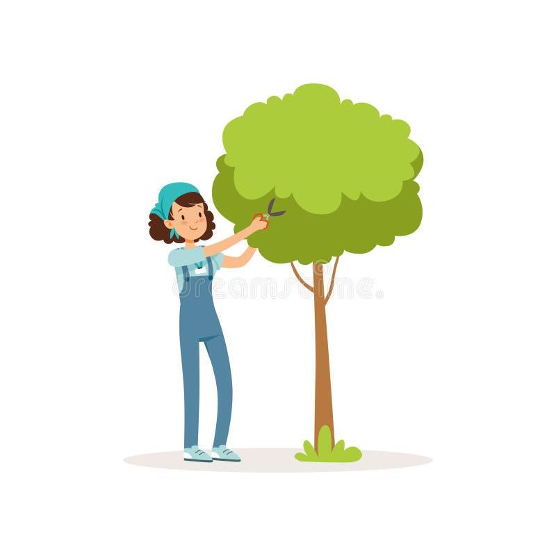 Girl cutting green tree using garden scissors. Volunteer at work. Cartoon teen in overall, t-shirt and bandana. Girl cutting green tree using garden scissors stock illustration