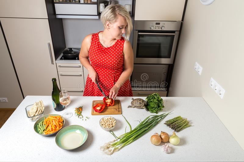 Download Girl Cutting Paprika And Looking Over Shoulder Of Tortoise Eatin Stock Image - Image of beautiful, salad: 100980527