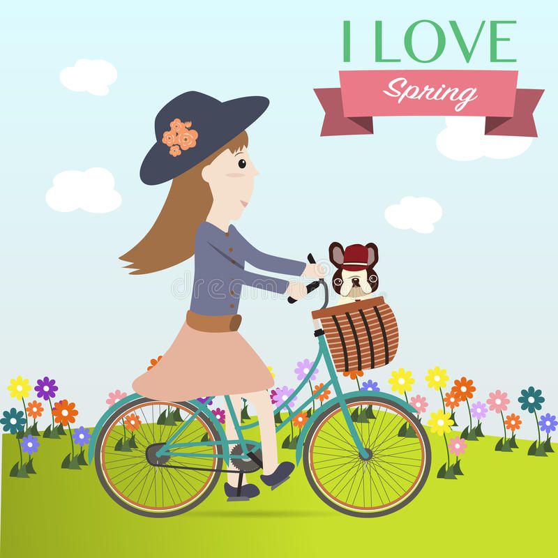 Girl cycling bicycle on the spring time. Girl cycling bicycle with french bulldog on the spring time vector illustration