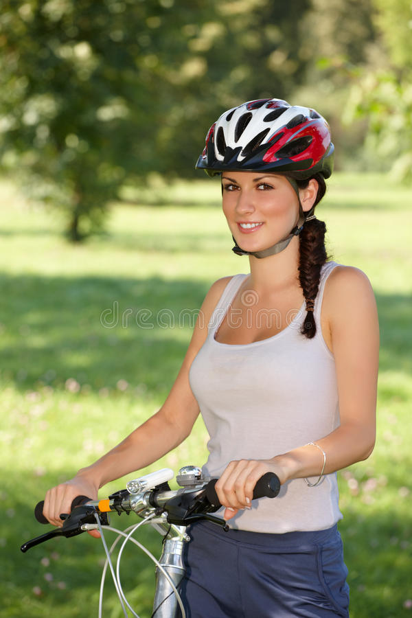 Download Girl Cyclist stock image. Image of happy, biker, female - 21993711