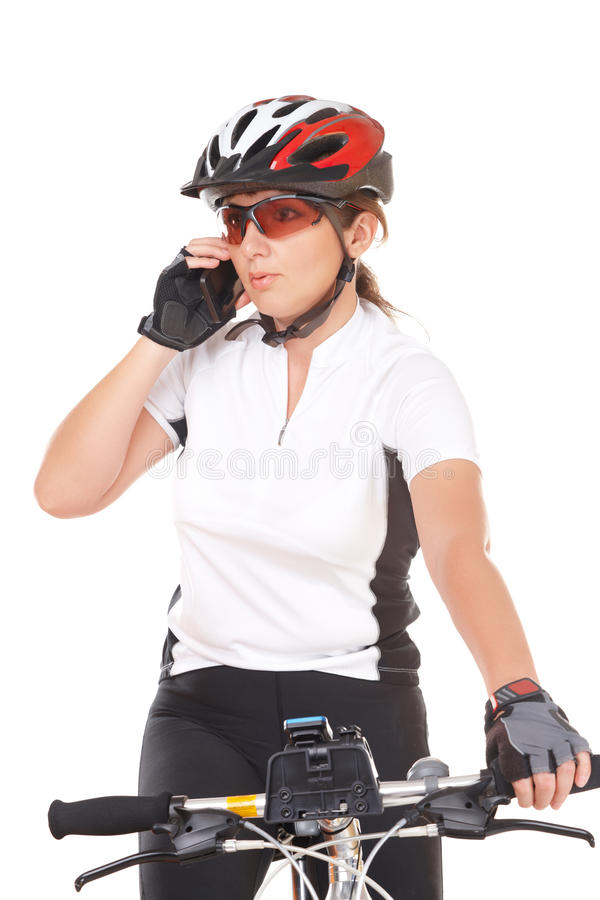 Download Girl Cyclist Talking On The Phone Stock Photo - Image of person, happy: 27555636