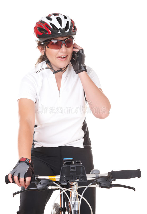 Download Girl Cyclist Talking On The Phone Stock Photo - Image: 27555644
