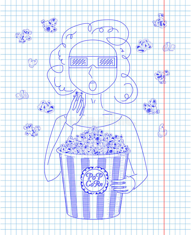 Girl in 3D glasses eating delicious popcorn from a big striped. Carton box. Reel of film with inscription. Drawn in pen stock illustration