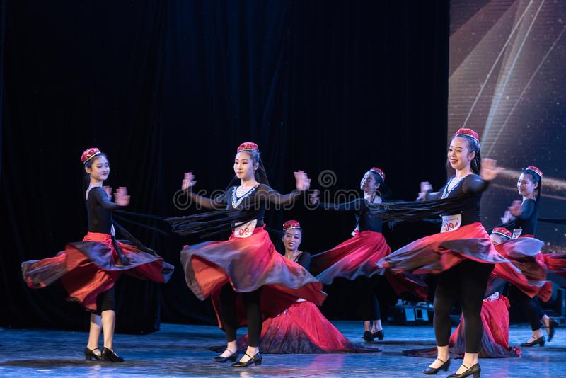 Girl Of Daban Town 4-Uygur Dance-Graduation Show of Dance Departmen. The original ethnic group of Xinjiang dance is the Uygur nationality. The dance is lively stock photos