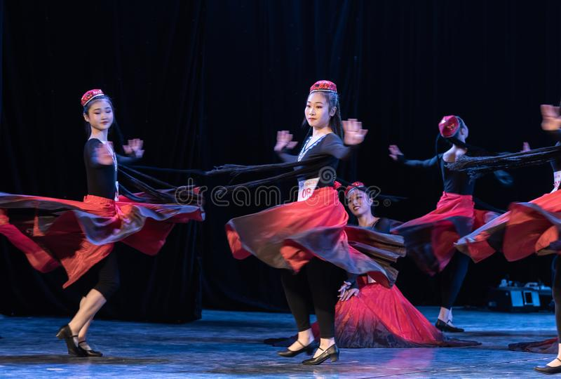 Girl Of Daban Town 5-Uygur Dance-Graduation Show of Dance Departmen. The original ethnic group of Xinjiang dance is the Uygur nationality. The dance is lively royalty free stock photography
