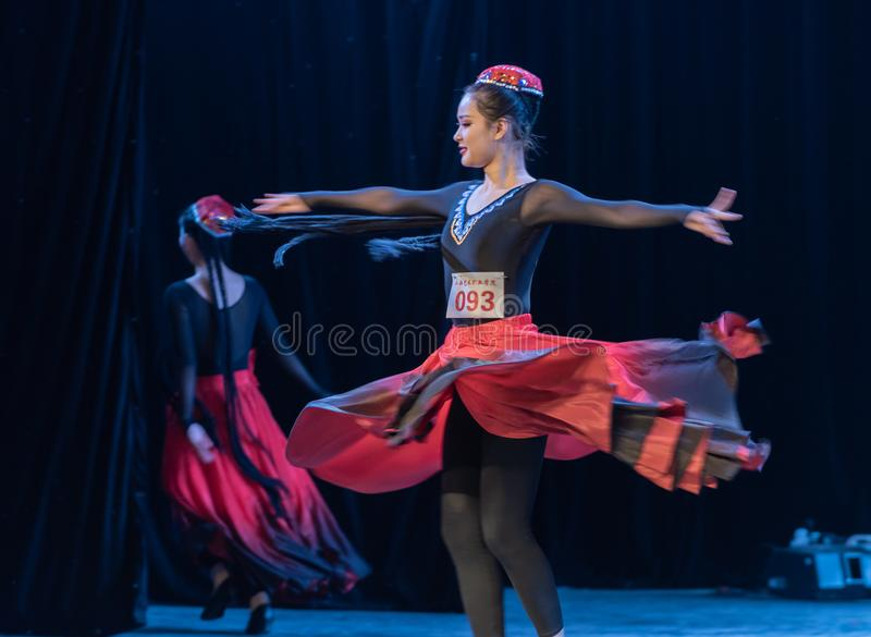 Girl Of Daban Town 6-Uygur Dance-Graduation Show of Dance Departmen. The original ethnic group of Xinjiang dance is the Uygur nationality. The dance is lively royalty free stock images