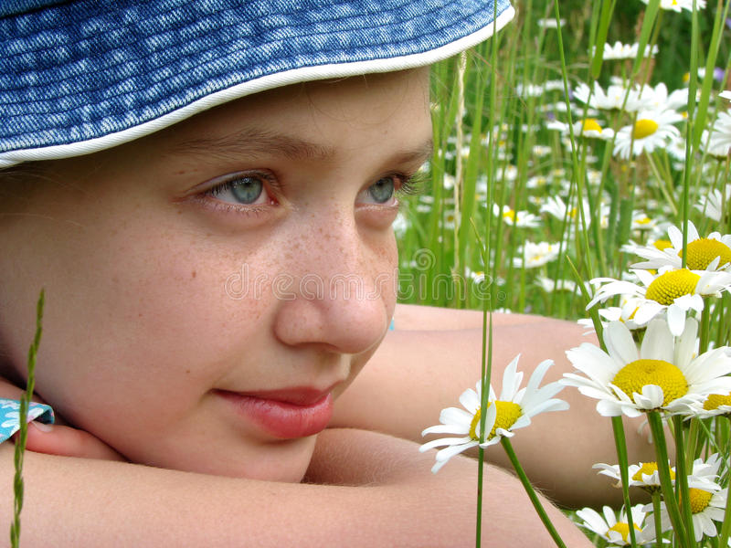 Download Girl with daisies stock image. Image of beautiful, spring - 12394761