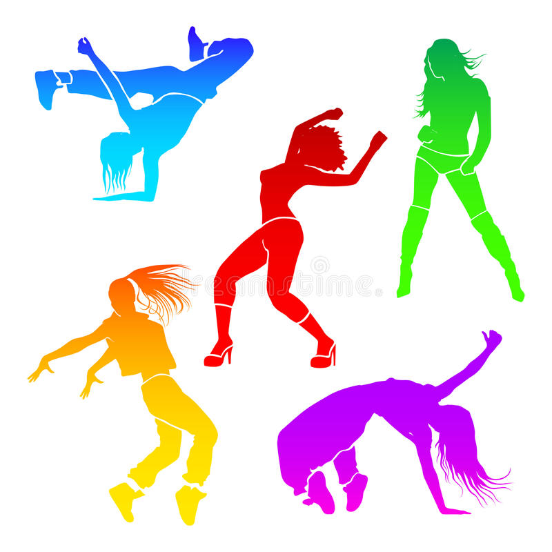 Girl dance. Energy motion vector stock illustration