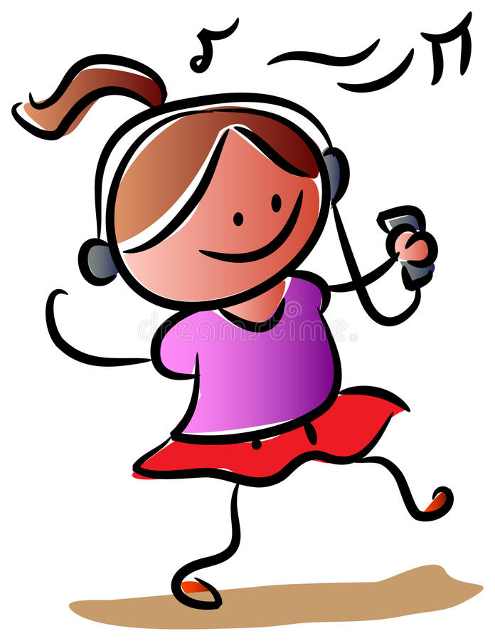 Girl dance with music. Funny cartoon image royalty free illustration