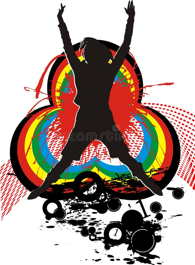 Girl and dance of the rainbow. Girl performs dance sparkling rainbows vector illustration