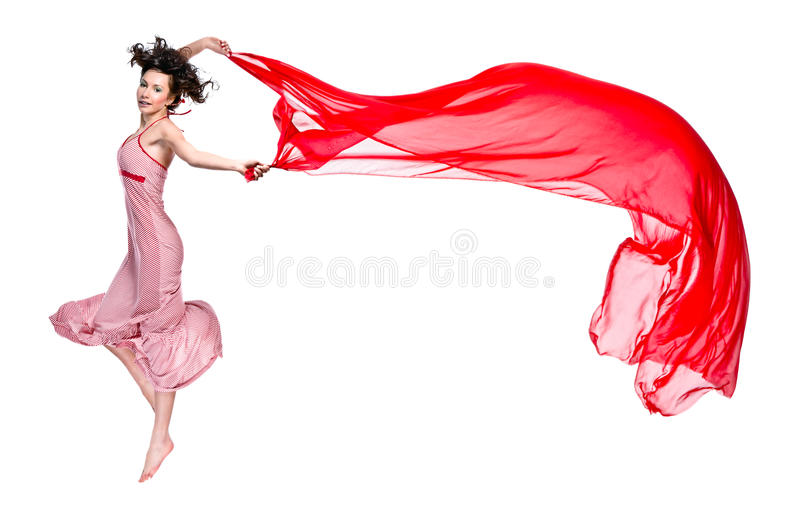 Girl Dance With Red Scarf Royalty Free Stock Photos