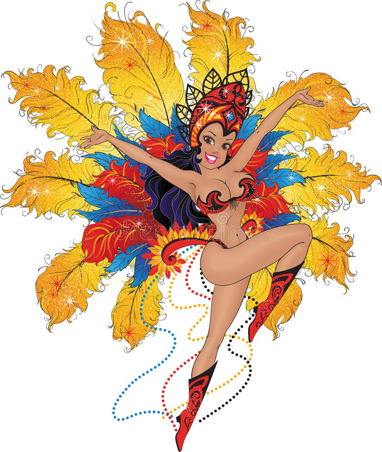 Girl dancer in the Brazilian carnival. royalty free illustration