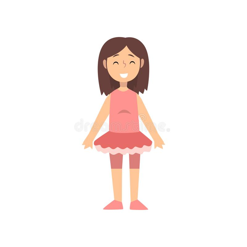 Girl Dancer Character in Pink Dress, Kid Dreaming of Future Profession Vector Illustration. On White Background stock illustration